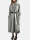 Solid Color Patchwork Pocket Loose Casula Dress For Women - Gray