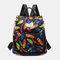 Women Waterproof Anti theft Multi-Carry Printed Casual Backpack Shoulder Bag - #05