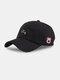 ユニセックスコットン無地文字漫画豚刺繡シンプルな野球帽 - 黒