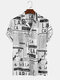 Mens 65% Cotton Fun Newspaper Print Casual Holiday Short Sleeve Shirt - White