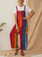 Polka Dot Striped Patchwork Straps Plus Size Jumpsuit - Red