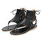 Extra Size Vintage Clip Toe Lace Up Lady Flat Roma Sandals