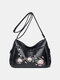 Ethnic Flower Embroidered Texture Hardware Waterproof Breathable Vintage Soft Crossbody Bag - Blue