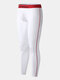 Men Cotton Heated Thermal Underwear Breathable Skinny Contrast Color Long Johns - White