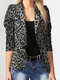 Leopard Print Long Sleeves Button Lapel Jacket Suit with Shoulder Pad - Dark Grey