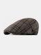 Men Autumn And Winter Duck Tongue Hat British Retro Woolen Forward Hat Flat Cap - Khaki