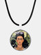 Cartoon Printed Men Women Necklace Adjustable Woman Wearing Flowers Glass Pendant Leather Necklace - #08