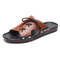 Men Pure Color Leather Slip Resistant Soft Sole Casual Beach Slippers - Brown