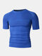 Men Stitching Compression Thermal Undershirt T-Shirt Breathable Elastic Breathable Workout Track Tops - Blue