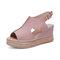 Women Retro Peep Toe Hollow Slingback Buckle Platform Sandals - Pink