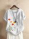 Flower Print O-neck Short Sleeve Button T-Shirt For Women - White