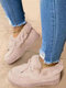 Large Size Comfy Suede Butterfly Warm Plush Stitching Round Toe Slip On Platform Snow Ankle Boots For Women - Beige