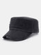 Men Solid Color Keep Warm Outdoor Flat Hat Military Hat - Black