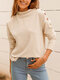 Solid Long Sleeve Button Half-collar Women Sweater - Apricot