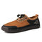 Men Large Size Breathable Mesh Fabric Color Matching Hand Stitching Shoes - Brown