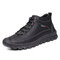 Men Retro Hand Stitching Leather Non Slip Casual Ankle Boots - Black