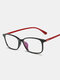 Square Frame Men Anti-Blue Flat Mirror Glasses Ultra-Light Women Computer Goggles - Bright Red