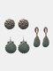 3 Pcs Vintage Irregular Women Earrings Set Drop-Shape Hollow Flower Hand-Woven Tassel Earrings - #10