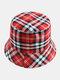 Women & Men Plaid Pattern Retro Port Style Windproof Soft All-match Travel Bucket Hat - #13