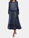 Plaid Print Taschen O-Ausschnitt Langarm Casual Kleid - Marine