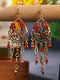 Vintage Bohemian Hollow Drop Flower Shape With Tassel Inlaid Rhinestones Alloy Earrings - Red