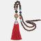 Vintage Buddha Wood Beads Long Necklace Ethnic Geometric Tassel Pendant Sweater Chain - 02