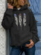 Feather Print Hooded Long Sleeve Casual Hoodie For Women - Black