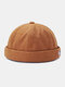 Unisex Letter Patch Pattern Solid Color Brimless Beanie Landlord Cap Skull Cap - Camel