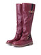 Plus Size Women Metal Buckle Decor Slip On Mid Calf Riding Boots - Red
