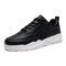 Men Pu Skate Shoes Lace Up Sport Casual Sneakers - Black