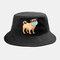 Cartoon Animals Quarantined Hat Isolated Pattern Hat Cotton Bucket Cap - Black