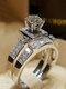 Trendy Geometric Metal Diamond Rings Temperament Rhinestone Rings - #01