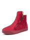 Women Solid Color Suede Side Zipper Casual Warm Snow Ankle Boots - Red