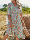 Summer Holiday Half Sleeve Knotted V-neck Floral Print Bohemian Dress - Green