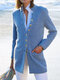 Casual Cotton Blended Long Sleeve Stand Collar Plus Size Coat - Blue