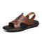 Men Cow Leather Non Slip Soft Sole Casual Two Ways Sandals - Brown