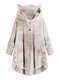 Tie-dyed Print Long Sleeves Pockets Button Casual Hoodies For Women - #2