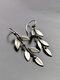 Vintage 925 Silver Plated Earrings Simple Tree Leaf Pendant Earrings - Silver