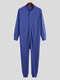Pure Color Casual Thin Soft Home Long Sleeve O-Neck Button Jumpsuit Onesies For Men - Dark Blue