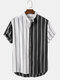 Mens 100% Cotton Breathable Contrast Color Patchwork Striped Short Sleeve Casual Shirt - White