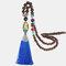 Vintage Buddha Wood Beads Long Necklace Ethnic Geometric Tassel Pendant Sweater Chain - 03