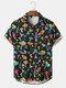 Mens Colorful Mushroom Print Button Up Street Short Sleeve Shirts - Black