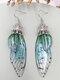 Vintage S925 Sterling Silver Butterfly Long Cicada Wings Gradient Earrings - 11