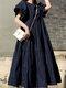 Einfarbig Short Puff Sleeve Plissee Casual Loose Kleid - Marine