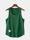 Mens Simple Solid Multi Color Casual Breathable Sleeveless Tank Top - Dark Green