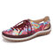 SOCOFY Printing Pattern Splicing Stitching Lace Up Soft Flat Shoes - Red