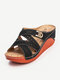 Women Casual Brief Solid Color Stitching Cross Strap Wedges Heel Stripe Slippers - Black
