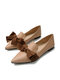 Large Size Women Solid Bowknot Flats Elegant Pointed Loafers Shoes - Apricot