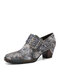 Socofy Women Retro Leather Floral Print Square Toe Metal Buckle Soft Comfy Side Zipper Chunky Heel Pumps - Dark Gray