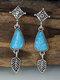 Vintage Drop-shape Leaf-shape Alloy Turquoise Earrings - Blue